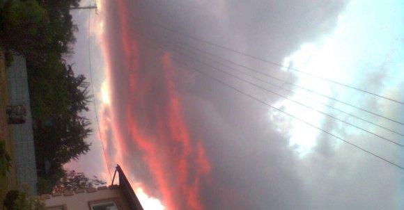 Zachód słońca nad moim domem.